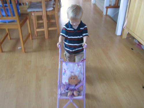 Jacob taking his baby for a walk