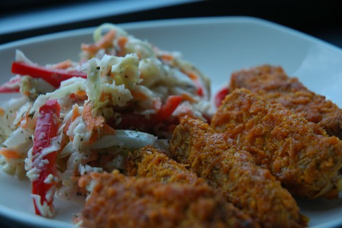 "Tempeh ""wings"" and coleslaw"
