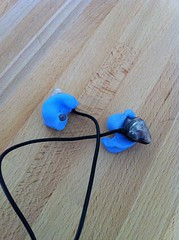 Shure earbuds embedded in silicon earplug material
