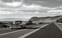 IMG_5503 (.lux) Tags: ocean auto old white black blur chevrolet beach car oregon vintage coast sand highway rocks surf waves pacific 101 1950s cannonbeach monolith