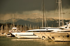 a moment before the storm (ike_z) Tags: ocean sunset sea lake storm france mountains water clouds sailboat port marina photography lights boat nikon ship cloudy yacht skipper stormy sail yachting d90 weathe brilliantlights cloudsr
