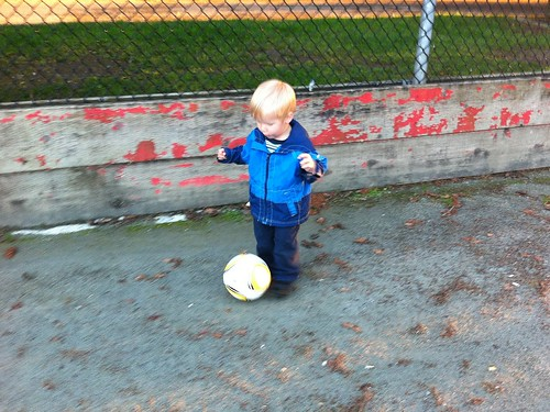 Jacob practices his soccer