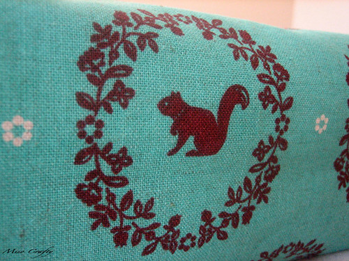 Teal Echino Woodland Project Bag - Fabric