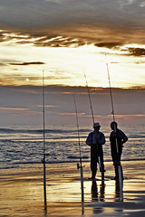 Surf Fishing at Sunset on the OBX (Bruce Wise) Tags: sunset usa water colors photoshop island coast nc flickr adobe wise getty outer 2008 hdr highdynamicrange banks obx cs4 photomatix tonemapped cs5