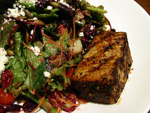 Mixed Field Greens with Seared Ahi Tuna @ Redwater Grille