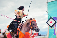 Almost a bulls-eye.  Glenn Waters. Japan. Over 2,600 visits to this photo. (Glenn Waters in Japan.) Tags: horse woman beautiful japan lady japanese nikon bokeh traditional martialarts  warrior matsuri japon horseback yabusame   japanesearchery    d700 nikond700
