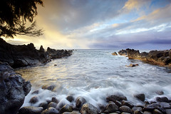 Laupahoehoe Cove (PatrickSmithPhotography) Tags: sunset usa cloud seascape landscape hawaii lava unitedstates wave cobblestones bigisland ironwood laupahoehoe casuarina photocontesttnc11