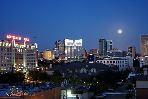 Photo of downtown Fort Worth (Texas) with full moon rising