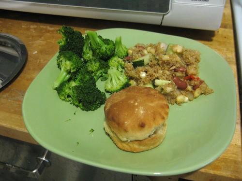 Broccoli, succotash, biscuits