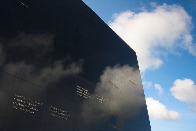 Astronaut Memorial With Clouds