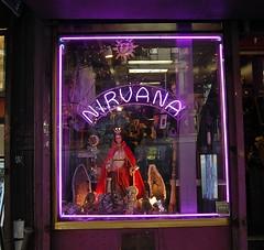 Nirvana (Mattron) Tags: nyc newyorkcity newyork sign store neon nirvana manhattan midtown gothamist curbed hellskitchen 9thavenue geodes
