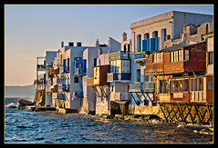 Mykonos Island , Greece.  The famous little Venice location