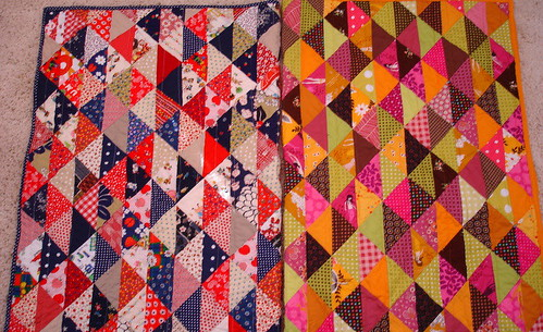 half square triangle baby quilts together