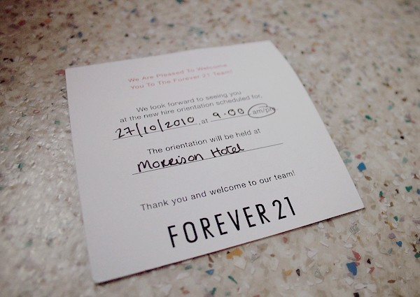 forever 21 employee card