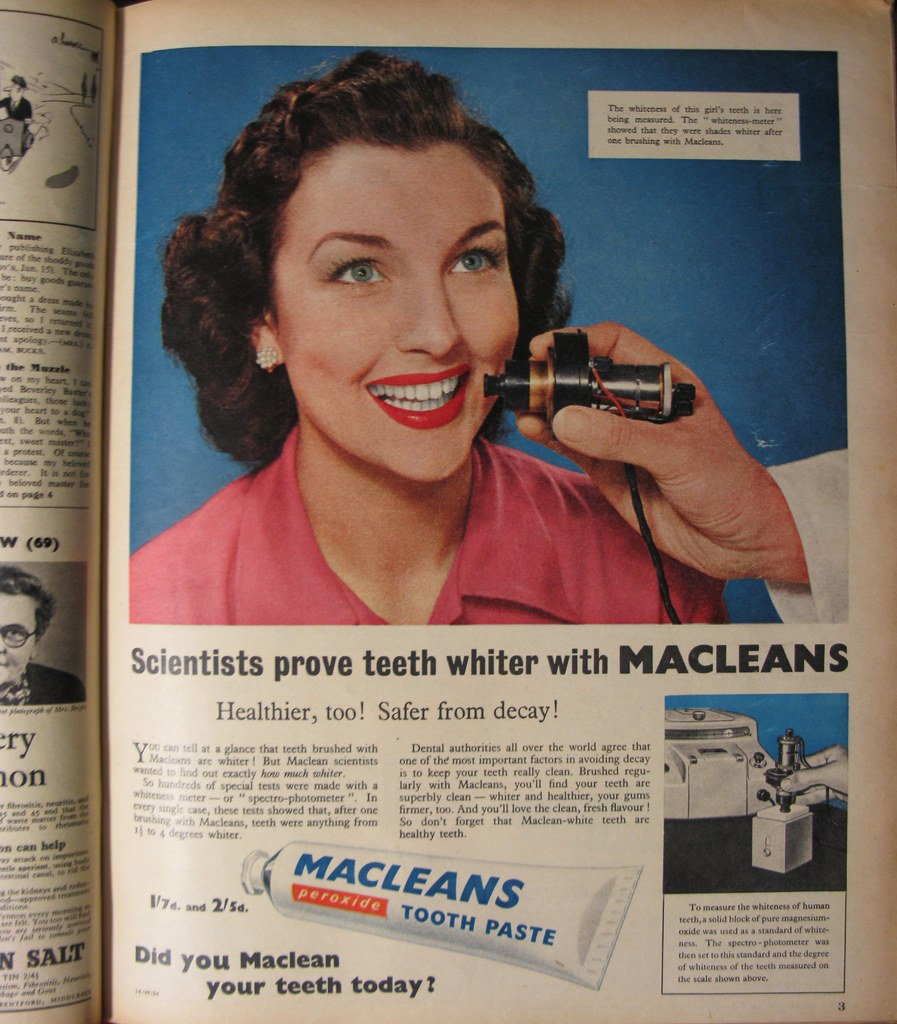 Macleans Peroxide Tooth Paste advert, 1955