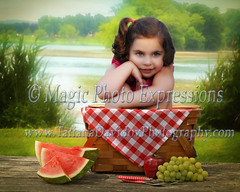 Summer_Picnic (tdav66) Tags: portrait green water girl face composition digital canon river pose lens photographer basket roman background young fork teen creation gras local oaks grape sherman encino tarzana picknik woatermelon