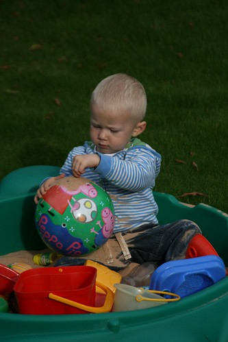 Joshua in the sandpit
