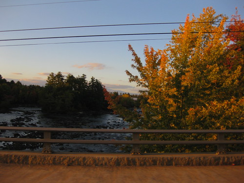 fall leaves, sunset, saco river