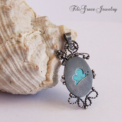 turquoise and butterflies filigree pendant