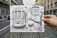 Pencil Vs Camera - 35 (Ben Heine) Tags: road city brussels people streetart art architecture danger ball buildings paper vanishingpoint crazy downtown poem cityscape hand belgium upsidedown accident head path trolley surrealism main crowd transport visualarts dream tracks rail bowl file urbanart route louise fantasy frame series nightmare foule portfolio mad avenue universe 35 rue madman tramway ville cadre dandy fou tte boule rverie folie theartistery inception surrealiste infini citadin benheine miseenabime infinitysymbol drawingvsphotography samsungimaging creativeseries samsungnx10 katiegabrielle pencilvscamera imaginationvsreality lenvers pencilland escherinspitation