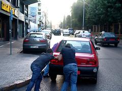 Pra Frente Brasil! (s eleies)! (AndreRibeiro.A2R) Tags: street two people lebanon car pessoas guys carro push rua beirut beirute dois rapazes lbano empurrando andrribeiro jammedcar carroenguiado