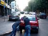 Pra Frente Brasil! (às eleições)! (AndreRibeiro.A2R) Tags: street two people lebanon car pessoas guys carro push rua beirut beirute dois rapazes líbano empurrando andréribeiro jammedcar carroenguiçado