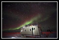 Auroras over MSF (Ed.Stockard) Tags: longexposure ice dark stars science glacier greenland summit northernlights auroras lidar icecaps summitstation icesheet