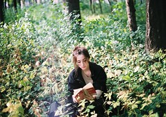 (b r e e) Tags: park light film girl beautiful forest 35mm canon 50mm book golden bokeh hipster nathalie hour canonae1 sooc