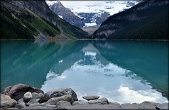 Lake Louise, Banff National Park. (kfrombrissie) Tags: snow canada mountains reflection water rockies glacier alberta rockymountains lakelouise banffnationalpark fairmonthotel chateaulakelouise victoriaglacier
