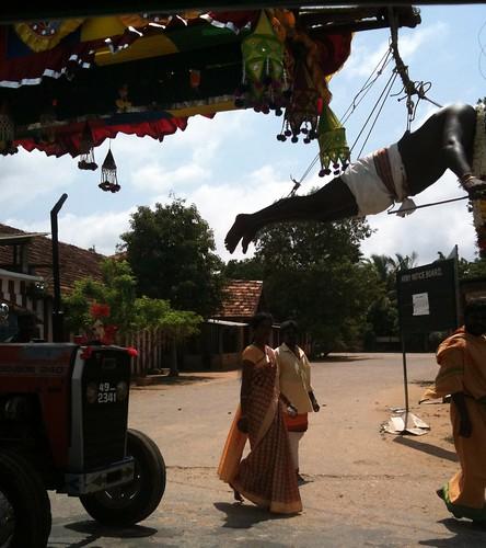 Devotee hangs from hooks, Jaffna