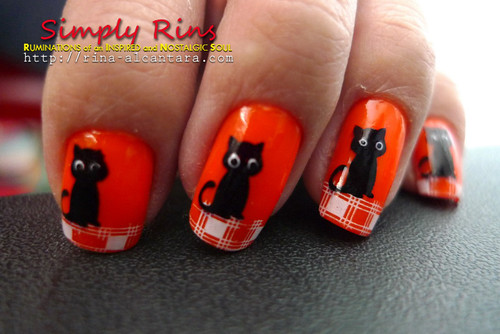 Nail Art Halloween Black Cats 05