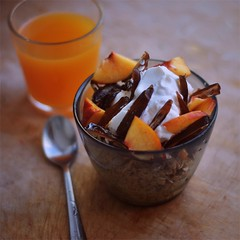 quick breakfast (saicode) Tags: white breakfast peach orangejuice date yogurt highlight muesli foodhot