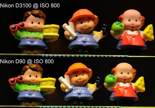 Nikon D3100 vs Nikon D90 @ ISO 800
