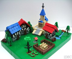 The Village of Sandchapel (2 Much Caffeine) Tags: castle village lego medieval tudor micro moc microscale foitsop