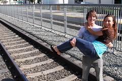 Ian Chelsea Caitlin Devin 9 October 2010 107 (JCworshipper clan) Tags: california railroad family friends love boyfriend hug girlfriend emotion daughter tracks warmth son care hold covina