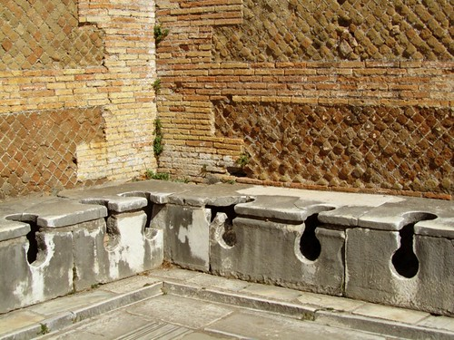 Ancient Roman latrine at Ostia Antica