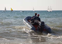 to the rescue (penwren) Tags: sea england beach sport speed sussex coast sailing racing southcoast dinghy capsize dinghies lancingsailingclub