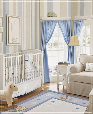 cortina azul quarto de bebe