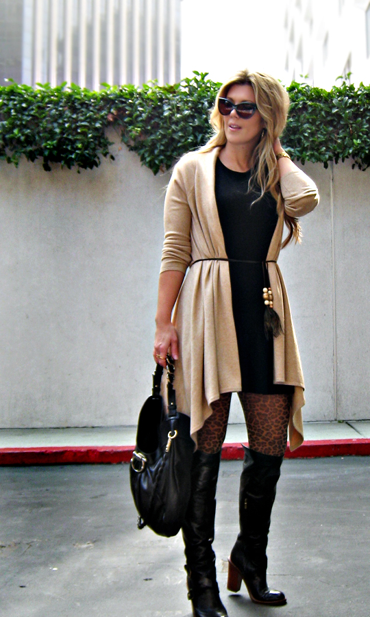 leopard tights+cat eye sunglasses+ferragamo bag+over the knee boots