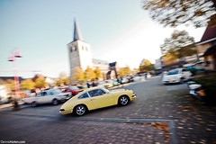 911Church. (Denniske) Tags: motion classic car yellow speed jaune canon eos movement october angle belgium action rally wide belgi sigma gelb giallo mm dennis 9th panning legend 1020 geel limburg noten 500d bocholt f456 denniske legendrally dennisnotencom legendofthefall2010bydennisnotencom