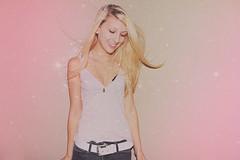 Shandi-lee XIV {sure of love} (Shandi-lee) Tags: pink selfportrait love girl smile wall glitter hair stars happy belt pretty emotion wind teeth sparkle jeans blonde tanktop romantic joyful crush magical shandilee faninhair