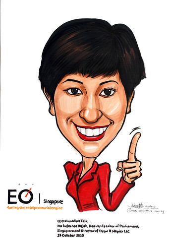 Caricature for EO Singapore - Indranee Rajah