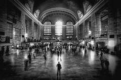 Grand Central Terminal (mudpig) Tags: nyc newyorkcity railroad bw white ny newyork black train geotagged manhattan flag central americanflag