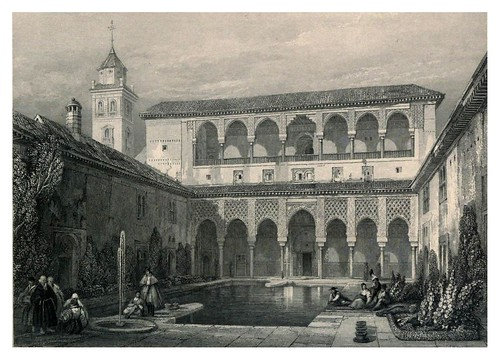 011-Patio de la Alberca-Tourist in Spain-Granada-1835-David Roberts