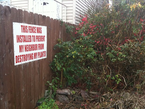 This fence was installed to prevent my neighbor from destroying my plants!