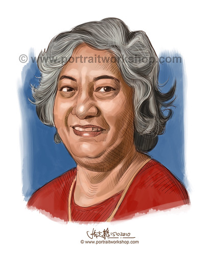 digital portrait illustration of Sarasvathey Sivagnanaratnam watermark