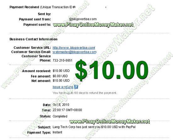 Blogsvertise Payment Proof - $10.00 on October 8, 2010 - PinayOnlineMoneyMaker.net