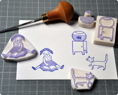 Other hand carved rubber stamps