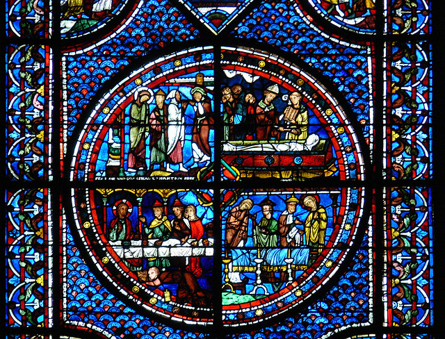 Raising of Lazerus - Chartres Cathedral Medieval stained glass