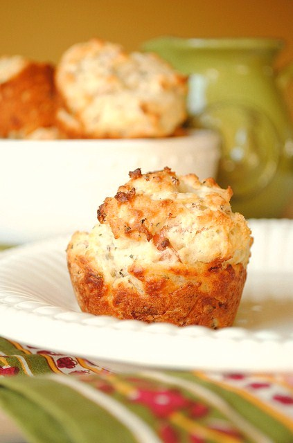 Parmesan Muffins with Prosciutto and Basil